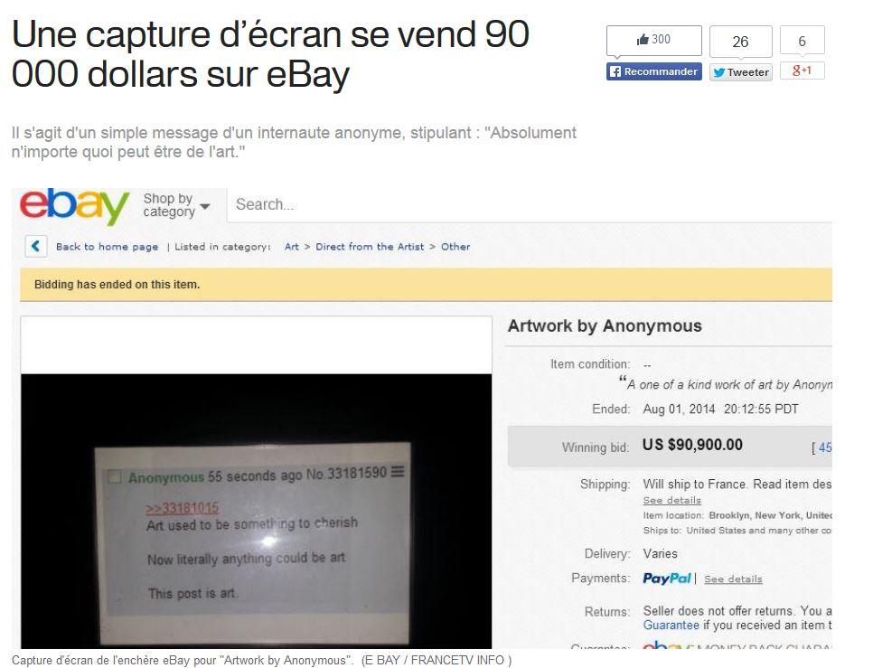 Non, une capture d'écran ne s'est (surement) pas vendue 90.000 $.