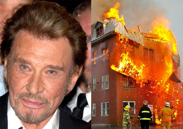 johnny hallyday allume le feu sa maison. Black Bedroom Furniture Sets. Home Design Ideas