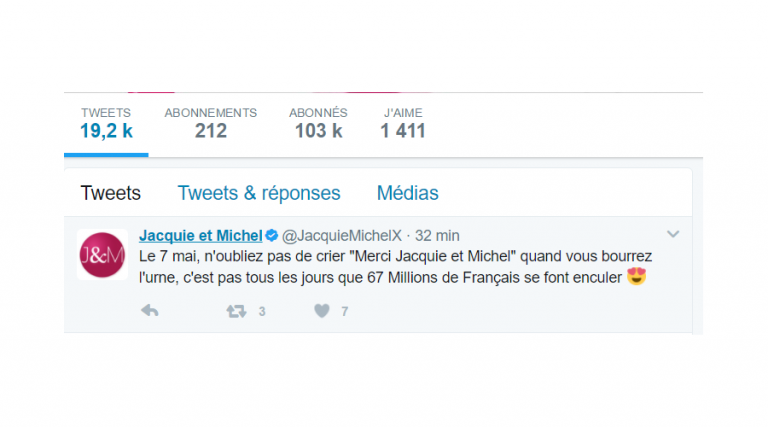 Opération «Merci Jacquie et Michel» Dimanche, criez cette phrase au moment de jeter votre bulletin dans l'urne.