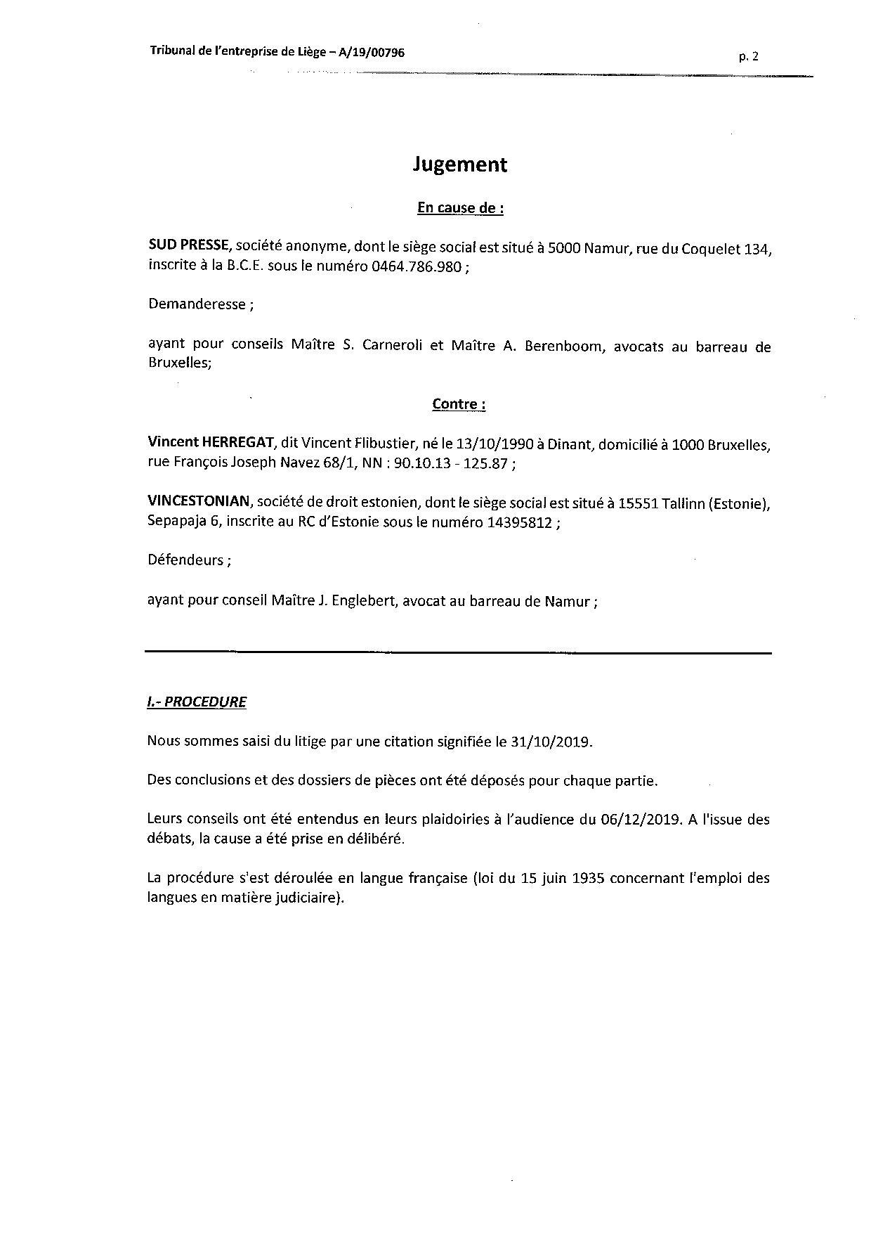 2020 01 10 SUD PRESSE c HERREGAT V et VINCESTONIAN SDE PLC (A-19-00796) aud 6-12-2019-page-002