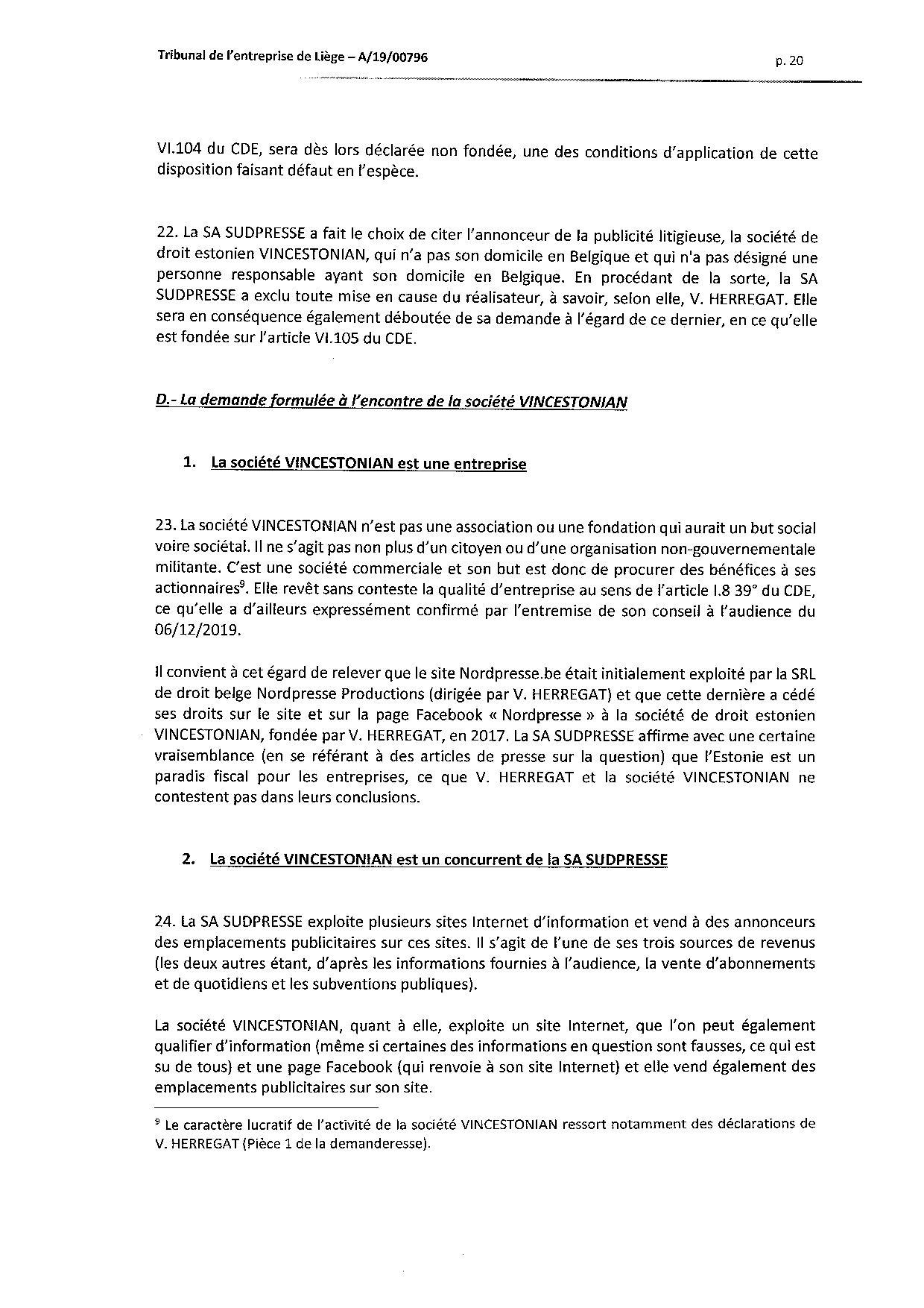 2020 01 10 SUD PRESSE c HERREGAT V et VINCESTONIAN SDE PLC (A-19-00796) aud 6-12-2019-page-020