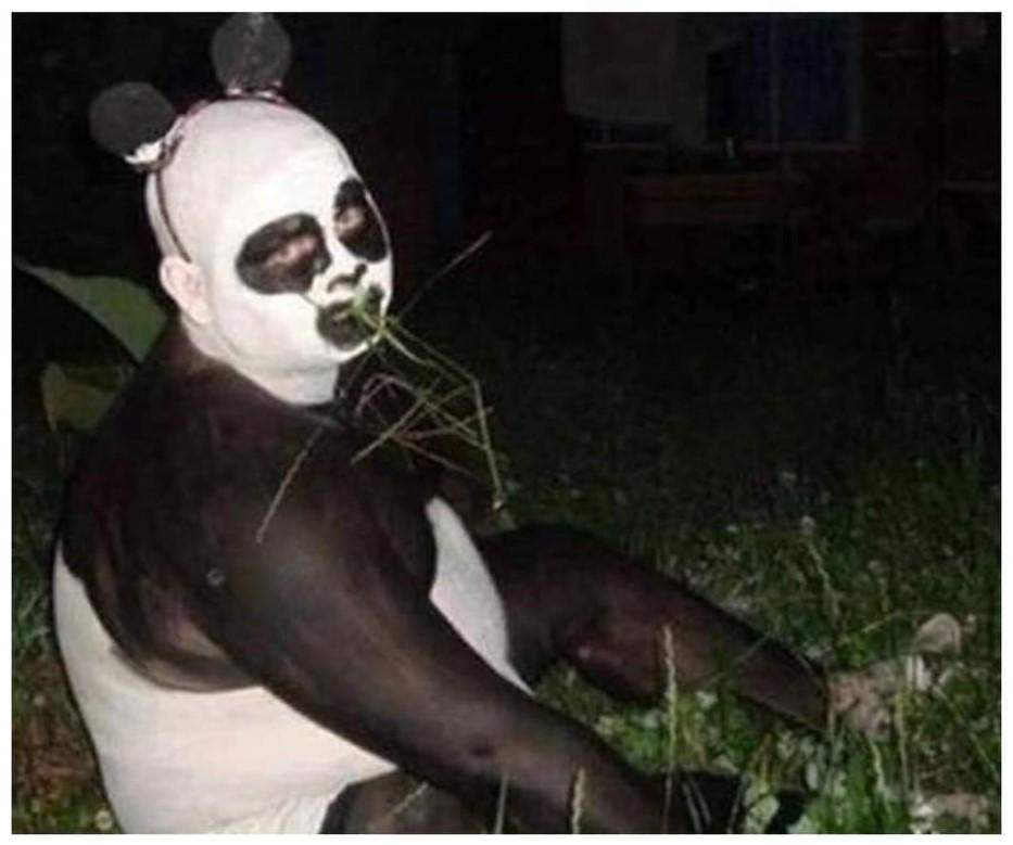 Syndicaliste chinois grimé de force en panda géant